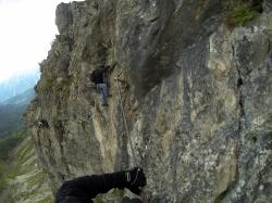 Querung am Kanzelwand Klettersteig