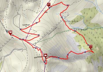 Route des Zweiländer-Klettersteigs an der Kanzelwand