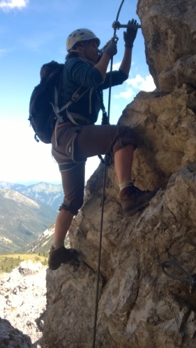 Am Klettersteig auf die Nordwand der Lachenspitze