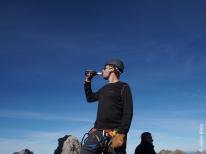 Gipfelhalbe am Gipfelkreuz Karhorn