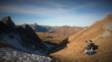 Pause am Wartherhornsattel