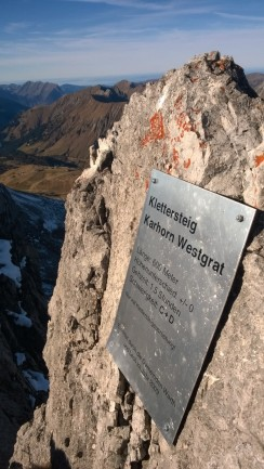 Karhorn Westgrat Klettersteig Tafel